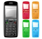 färgrika isolerade telefoner för cell Royaltyfri Bild
