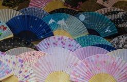 Färgrika japanfans arkivfoto