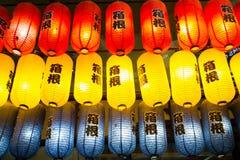 Färgrika japanska lyktor Arkivfoto