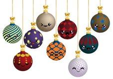 Färgrika julbollar med olika prydnader royaltyfria bilder