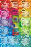 2016 färgrika kalender royaltyfri illustrationer
