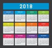 2018 färgrika kalender på mörk bakgrund stock illustrationer
