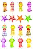 Färgrika Kandil för Diwali garnering royaltyfri illustrationer