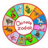 Färgrika kinesiska zodiakdjur för plasticine 3D Arkivfoto
