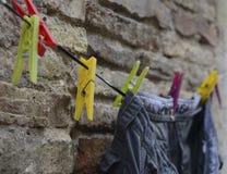 Färgrika klädnypor och flåsanden Royaltyfri Foto