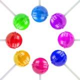 Färgrika klubbor i en cirkel arkivfoto
