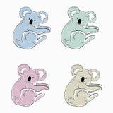 Färgrika koalor på vit bakgrund Skissar av olika färgdjur Tecknad filmsymboler av koalor royaltyfri illustrationer