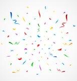 Färgrika konfettier på vit bakgrund Stock Illustrationer