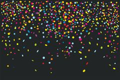 Färgrika konfettier som isoleras på svart bakgrund vektor illustrationer