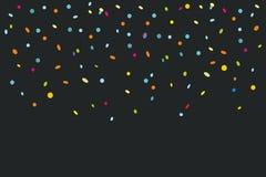 Färgrika konfettier som isoleras på svart bakgrund stock illustrationer