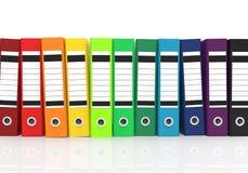 Färgrika kontorsmappar stock illustrationer