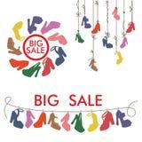 Färgrika konturkvinnors skor för höga häl stor försäljning stock illustrationer