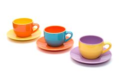 färgrika koppar för kaffe arkivfoto