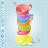 färgrika koppar för kaffe vektor illustrationer