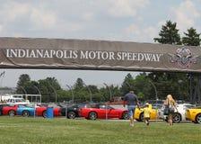 Färgrika korvetter i linje på den Indianapolis Motor Speedway parkeringsplatsen Royaltyfria Foton