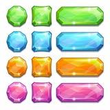 Färgrika kristallknappar vektor illustrationer
