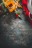 Färgrika kryddor bakgrund, bästa sikt Orientalisk eller indisk kokkonst för asiat, arkivbild