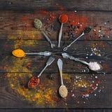 Färgrika kryddor i tappningsilverskedar på lantlig träbakgrund, bästa sikt Arkivbild