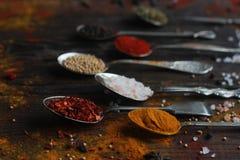 Färgrika kryddor i tappningsilverskedar på lantlig träbakgrund, selektiv fokus Royaltyfri Bild