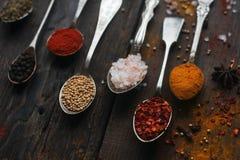 Färgrika kryddor i tappningsilverskedar på lantlig träbakgrund, selektiv fokus arkivbilder