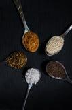 Färgrika kryddor på ett mörkt bräde Arkivbild