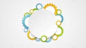 Färgrika kugghjul för abstrakt tech och tom cirkelvideoanimering stock illustrationer