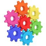 Färgrika kugghjulhjul som isoleras på vit Fotografering för Bildbyråer