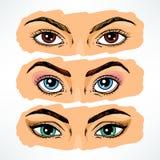 Färgrika kvinnors ögon Arkivfoto