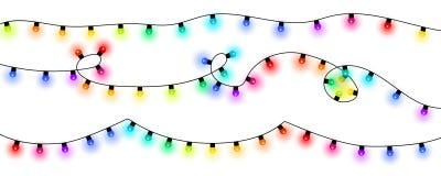 färgrika lampor för jul stock illustrationer