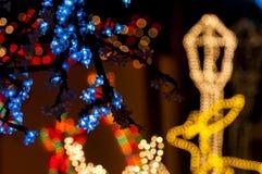 färgrika lampor för jul Arkivbilder