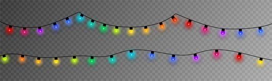 färgrika lampor för jul EPS10 royaltyfri illustrationer