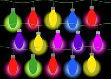 Färgrika lampor på svart bakgrund Royaltyfria Foton