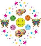 Färgrika leenden med Confettii och leksaker stock illustrationer