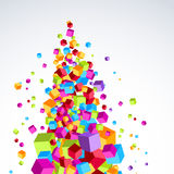 Färgrika ljusa kuber strömmar form a träd-som objekt Arkivfoton