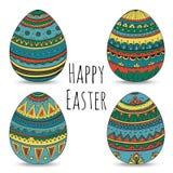 Färgrika lyckliga easter ägg ställde in samlingen, vektorillustration Arkivbilder