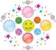 Färgrika lyckliga leenden med confettii och godisen stock illustrationer