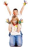 färgrika målade målarfärger för händer lyckliga ungar fotografering för bildbyråer