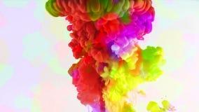 Färgrika målarfärgfärgpulverdroppar plaskar i undervattens- i vattenpöl lager videofilmer