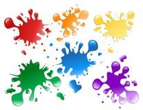 färgrika målarfärgsplatters royaltyfri illustrationer
