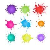 färgrika målarfärgsplatters Färgstänkuppsättning också vektor för coreldrawillustration Arkivbild