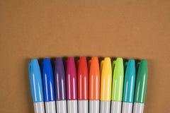 färgrika markörer Arkivbilder