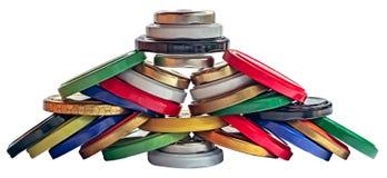 Färgrika metalliska lock för krus Arkivbilder