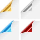 Färgrika metalliska pappers- hörnveck vektor illustrationer