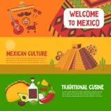Färgrika Mexico horisontalbaner royaltyfri illustrationer