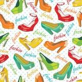Färgrika modekvinnors skor och prick. Seamle Arkivbild