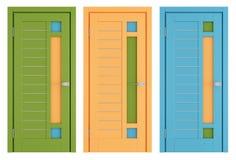 Färgrika moderna dörrar på vit vektor illustrationer