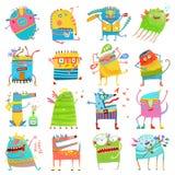 Färgrika monster för tecknad film för stor samling för ungar stock illustrationer