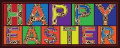 Färgrika mosaiska typografitegelplattor för lycklig påsk vektor illustrationer