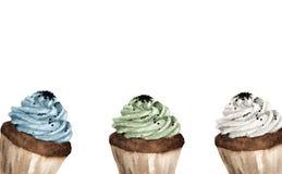 Färgrika muffin med stället för text stock illustrationer