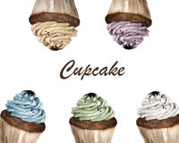 Färgrika muffin med stället för text vektor illustrationer